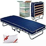 Evergreenweb ✅ Gästebett klappbar 80X190 cm Stabiler Metall-Rahmen Klappbett inkl. Matratze und Schutzhülle - freies Kissen