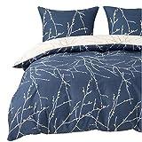 Bedsure Bettwäsche 135X200 Mikrofaser 2 teilig - Navy blau Bettbezug Set mit schickem Zweige Muster, weiche Flauschige Bettbezüge mit Reißverschluss und 1 mal 80x80cm Kissenbezug