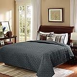 WOLTU Tagesdecke Bettüberwurf mit geometrischesmuster, Schlafzimmer Wohndecke weich und hautfreundlich,Bettdecke aus Mikrofaser mit Ultraschall genäht, Stepp Decke für Bett, 240x260 cm, Dunkelgrau