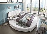 SAM Rundbett, 160x200 cm, Polsterbett in Weiß Lederoptik, pflegeleicht, abgestepptes Kopfteil, Bett mit Nachttischen