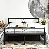 Aingoo Doppelbett Bettgestell mit Lattenrost Metall Ehebett fr Gstezimmer Schlafzimmer Bett In Schwarz Herz Symbol Muster