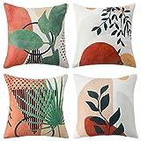 4er Set Dekorativ Kissenbezug Zierkissen-hüllen Zierkissenbezüge Outdoor Kissenbezüge 45 x 45 cm Kissenhülle für Couch Sofa Auto Bett Zimmer Blätter