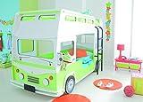 Demeyere 3325 Etagenbett 90 x 190/200 cm 'Bussy' inklusiv Rollrost, MDF mit Lack grün / weiß