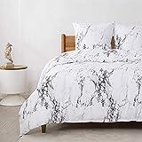 Bedsure Bettwäsche 135X200 Mikrofaser 2 teilig - weiß Bettbezug Set mit Marmor Muster, weiche Flauschige Bettbezüge mit Reißverschluss und 1 mal 80x80cm Kissenbezug