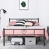 Aingoo Doppelbett Bettgestell mit Lattenrost Metall Ehebett für Gästezimmer Schlafzimmer Bett In Schwarz Herz Symbol Muster
