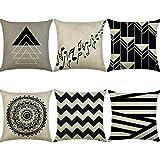 HBOS 6er Set Leinen zierkissenbezüge 45x45 cm, Liniengeometrie Muster Zierkissenhülle Dekorative Kissenbezug Für Sofa Büro (Stil 5)