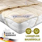 PROCAVE weiches Unterbett mit Lammflor und Schurwolle, hochwertige Matratzen-Topper, Matratzen-Schoner mit 4 Eckgummis, Matratzen-Auflage 100x200 cm